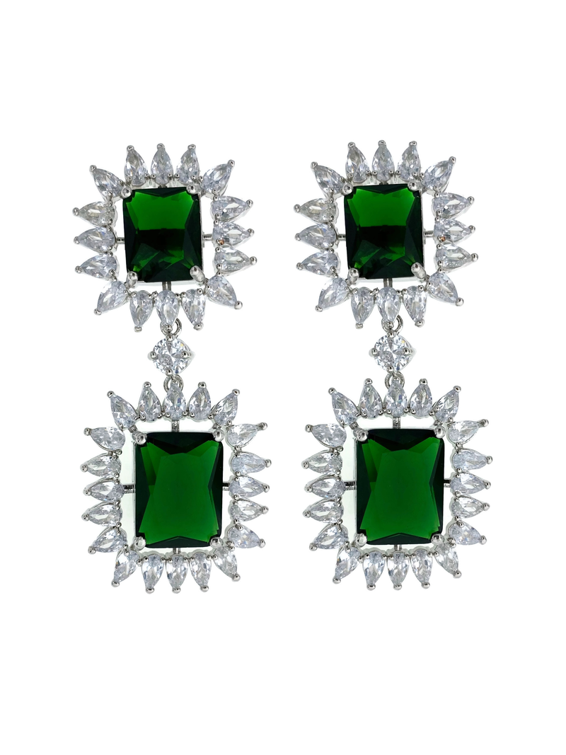 Bold Emerald Princess Cut Necklace and Earrings