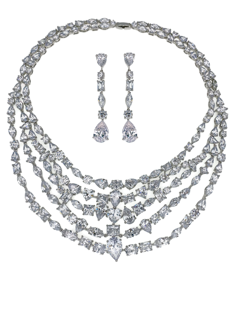 Diamondesque Fire and Ice Necklace and Earrings