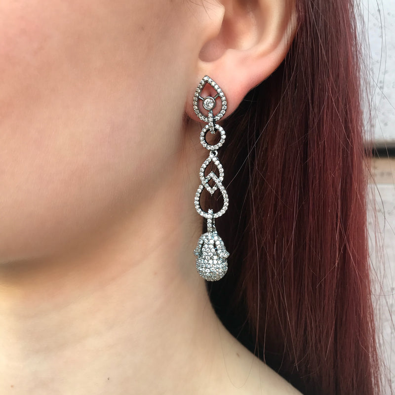 Antique Scroll Pear Earrings