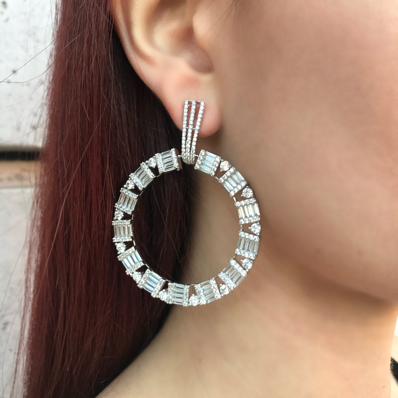 Baguette Diamondesque Circle Earrings