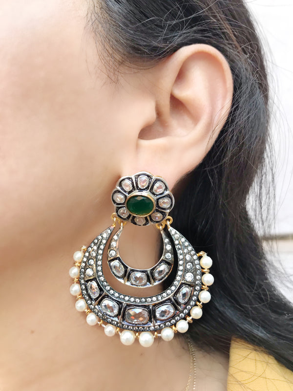Emerald Crescent Zircon Earrings