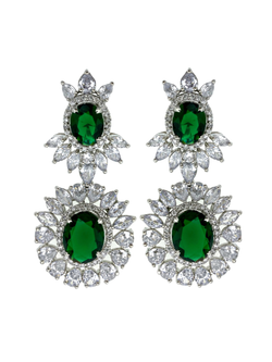 Emerald Ovals Waterfall Earrings