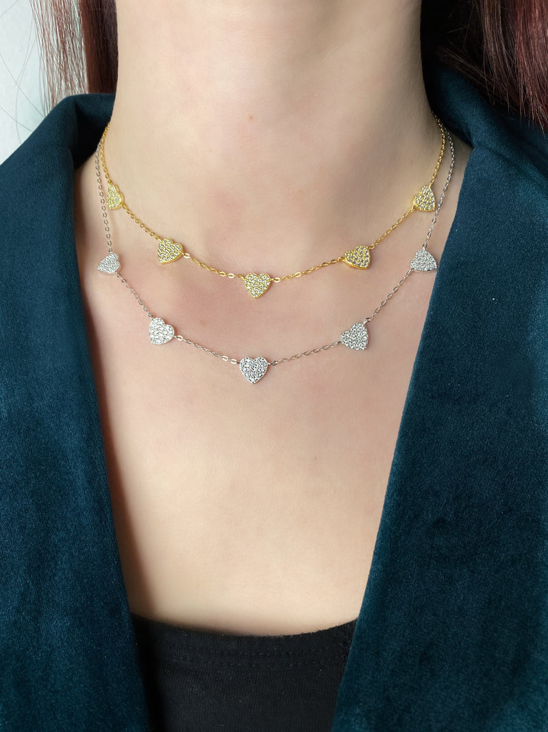 Pave Hearts Necklace