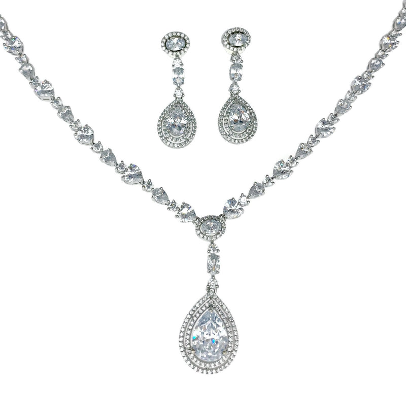 Teardrop Pendant Double Halo Necklace and Earrings