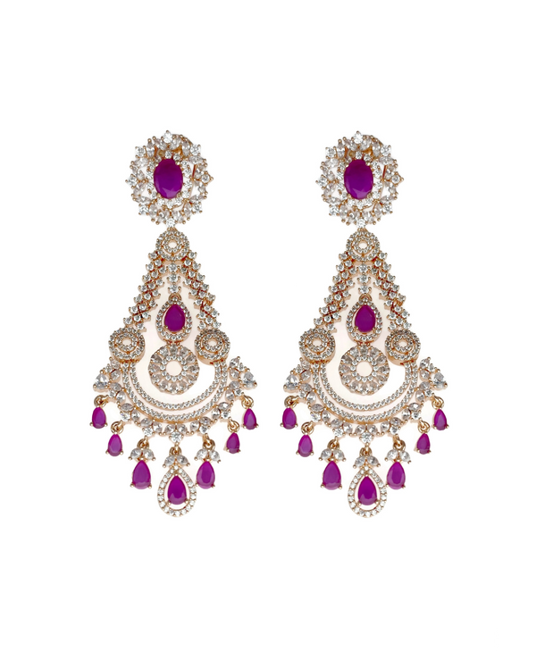 Rose Gold Crowned Chandelier Ruby Earrings