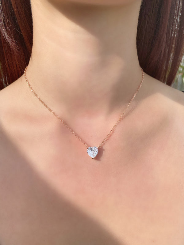 Rose Gold Heart Solitaire Necklace