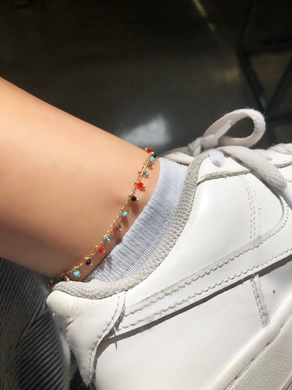 Rainbow Beads Anklet