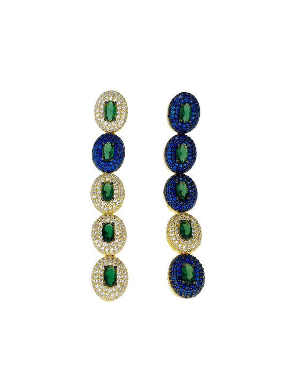 Blue Green Gold Pave Oval Line Earrings