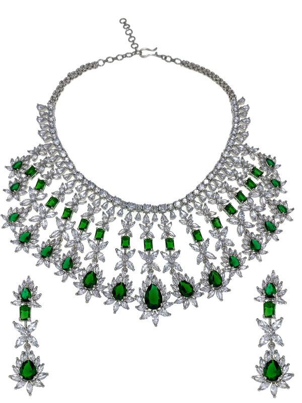 Emerald Teardrop Waterfall Necklace and Earrings