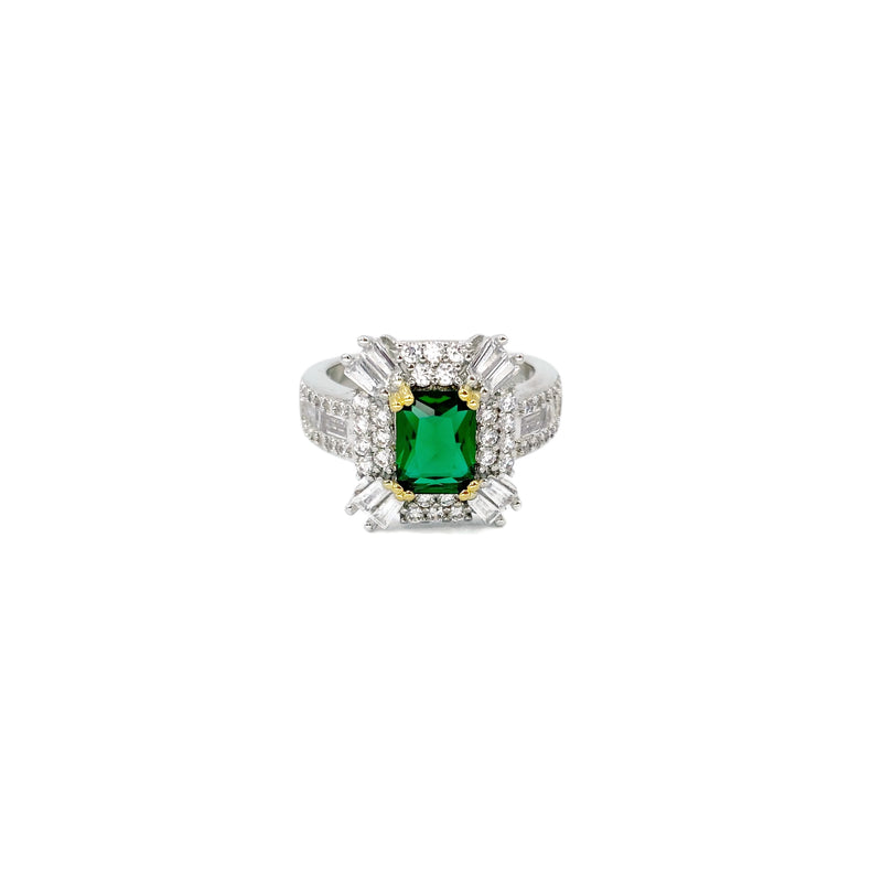 Emerald Square Baguette Ring
