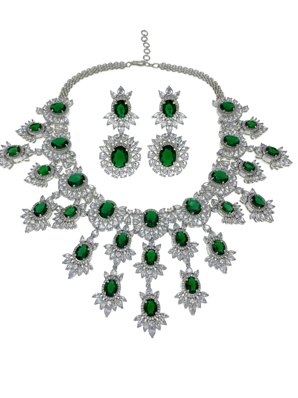 Emerald Ovals Waterfall Necklace and Earrings
