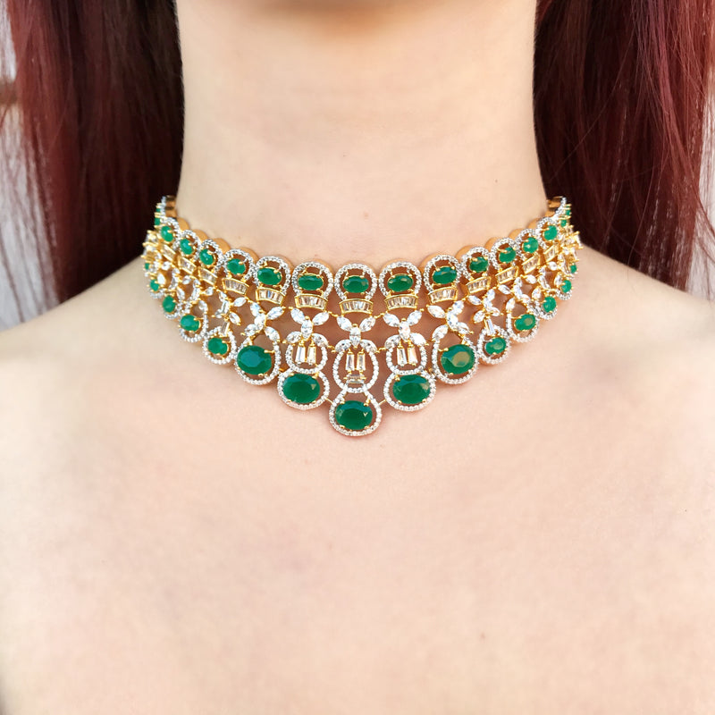 Emerald Oval Halo Gradient Necklace & Earrings