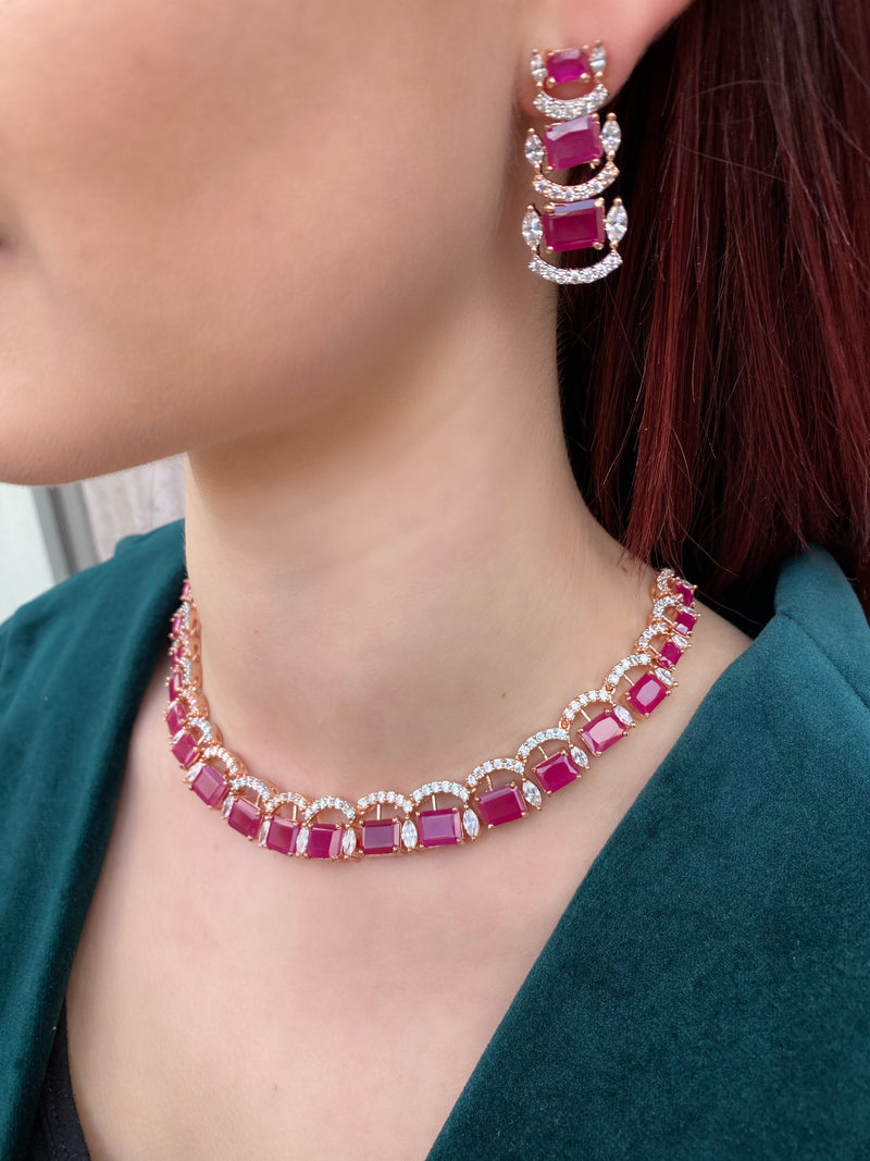 Ruby Scalloped Necklace & Earrings
