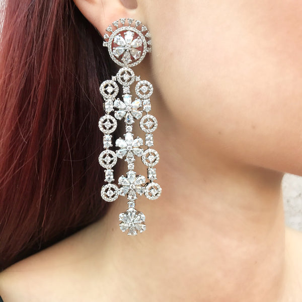 Diamondesque Crown Flower Chandelier Earrings