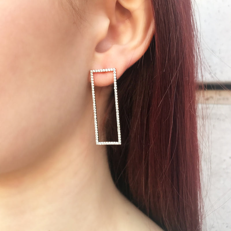 Pave Rectangle Earrings