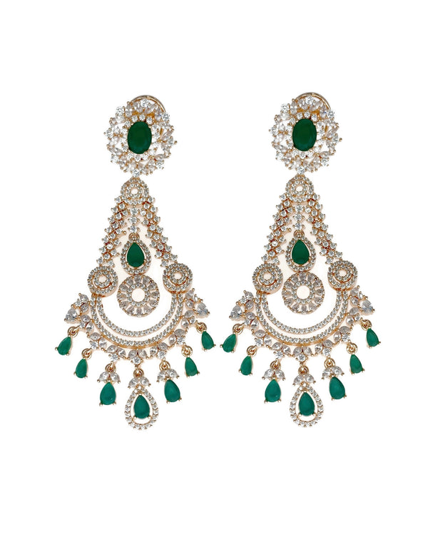 Rose Gold Crowned Chandelier Emerald Earrings