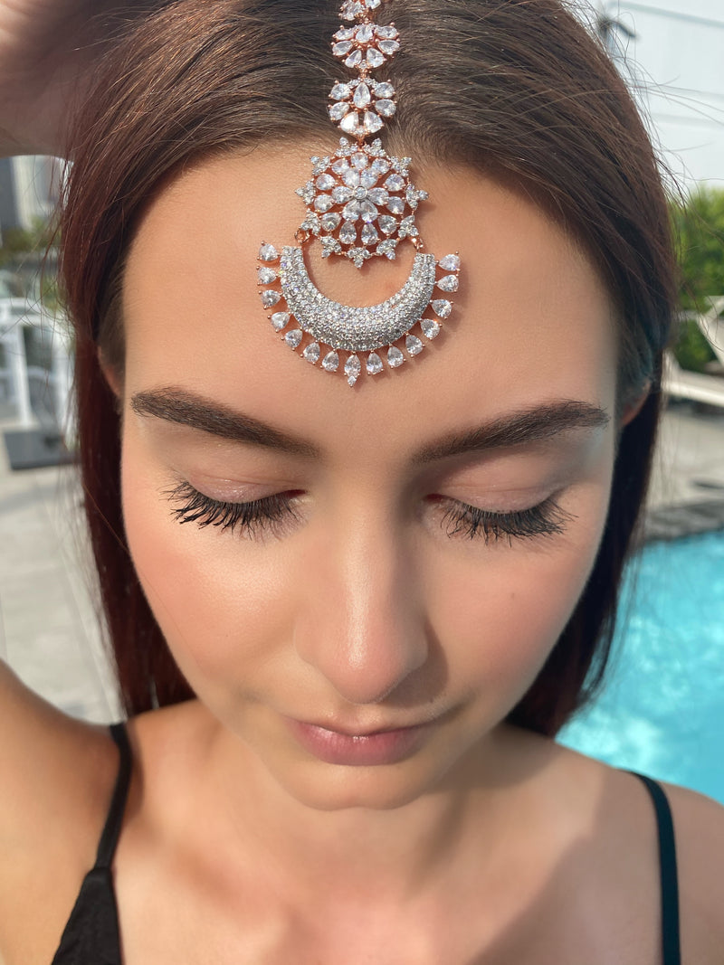 Rose Gold Crescent Teardrops Tikka Headpiece