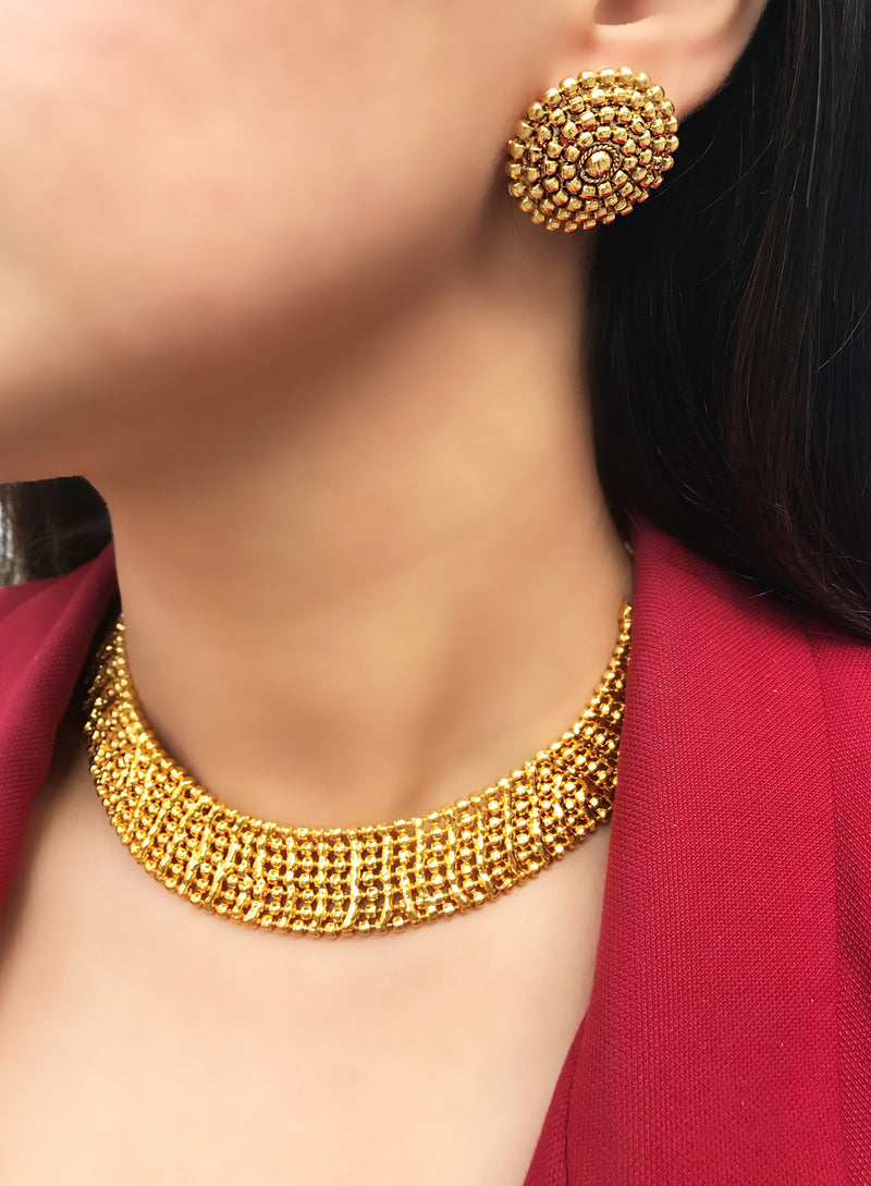 Gold Beaded Collar Necklace & Earrings