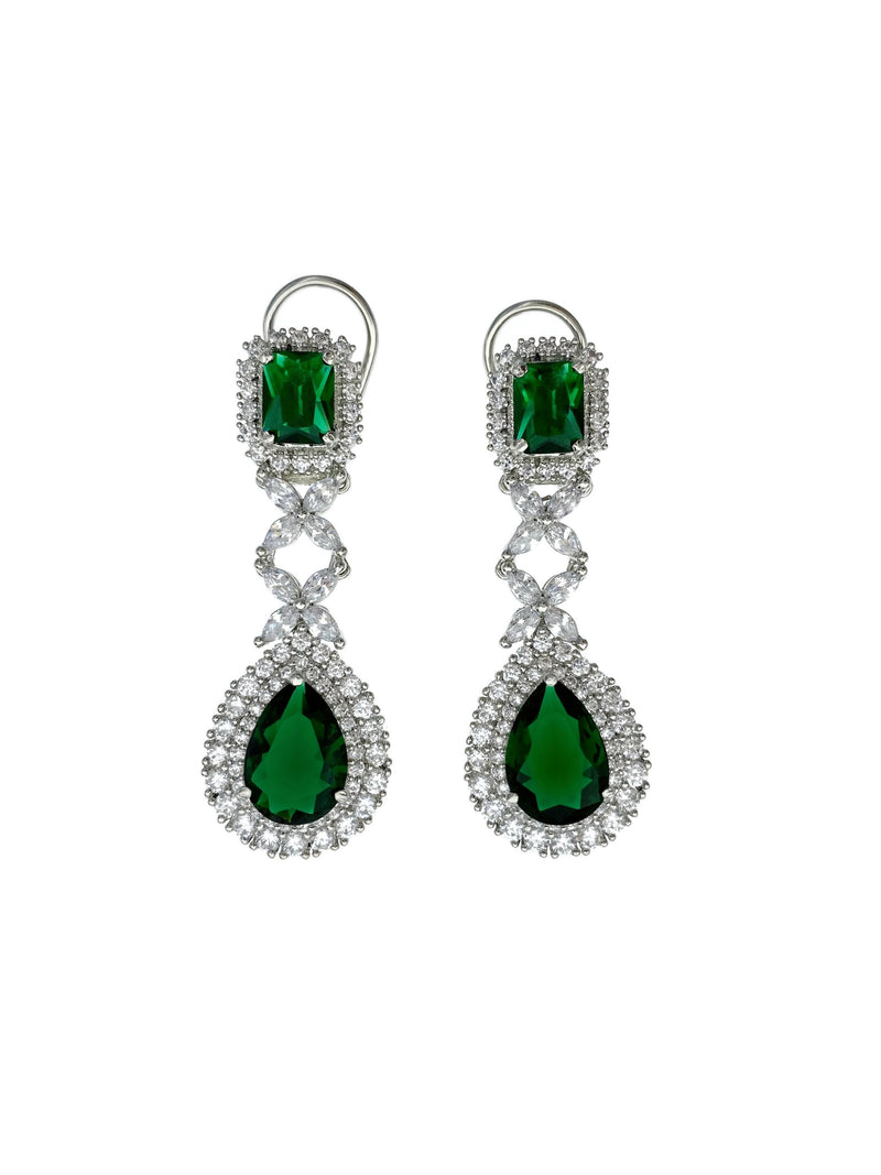 Emerald Princess Teardrop Pendant Necklace & Earrings