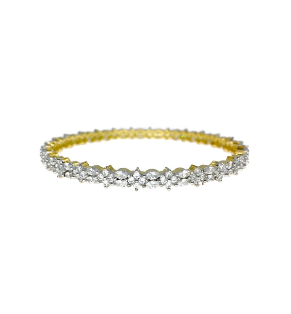 Two Tone Dainty Flower Diamondesque Bangle