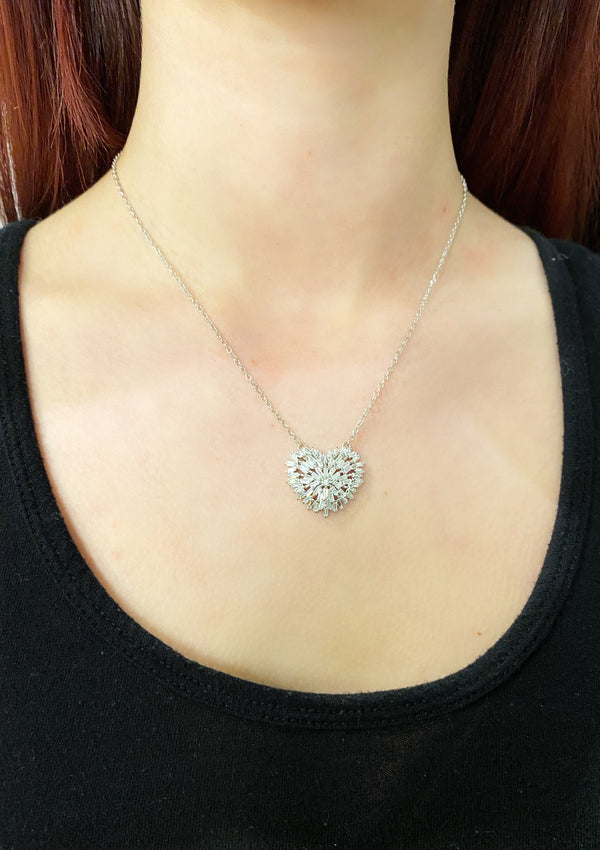 Heart Baguette Pendant Necklace