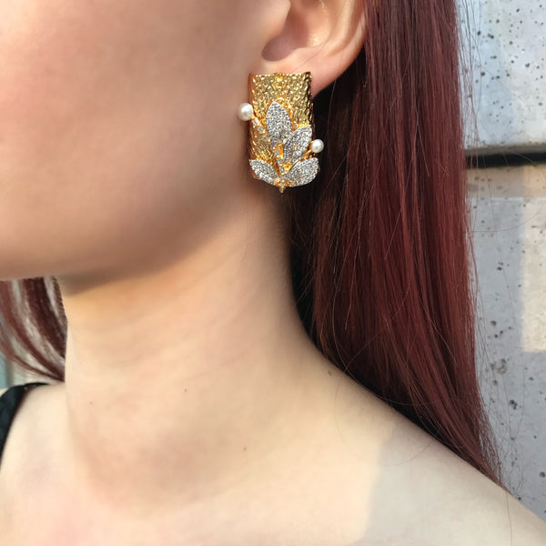 Gold Boxed Pave Leaf Earrings