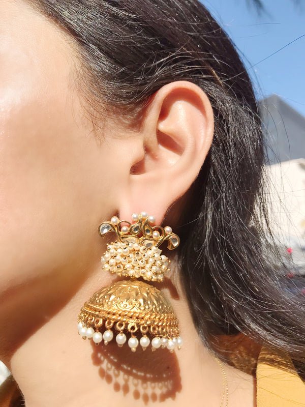 Gold Pearl Jhumka Earrings