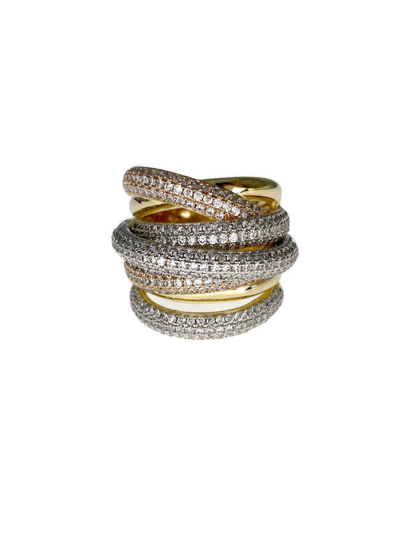 Layered Tri Tone Cocktail Ring