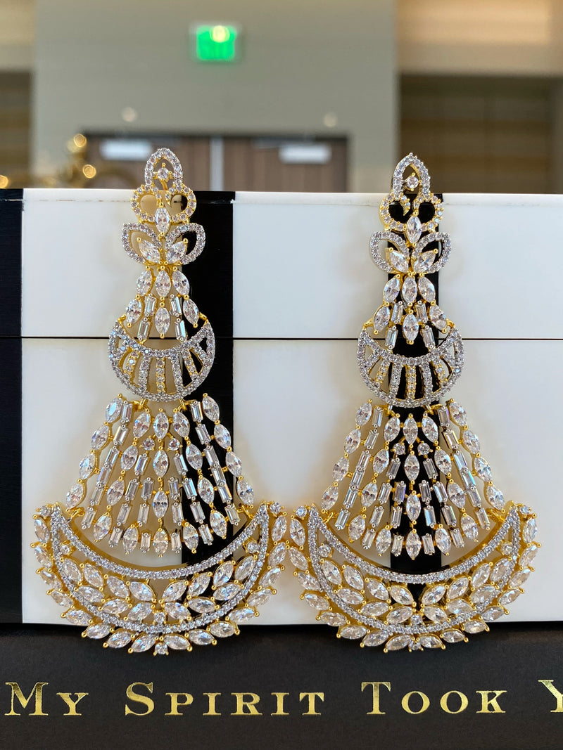 Two Tone Crescent Baguette Chandelier Earrings