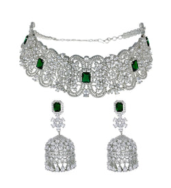 Emerald Diamondesque Victorian Collar Necklace & Earrings