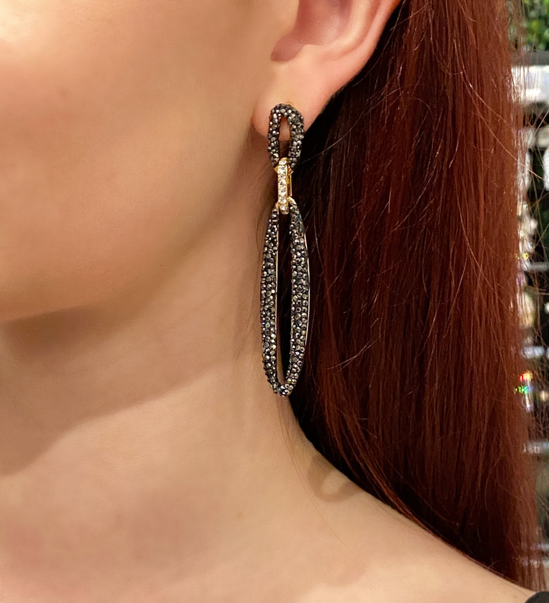 Turkish Druzy Oval Link Earrings