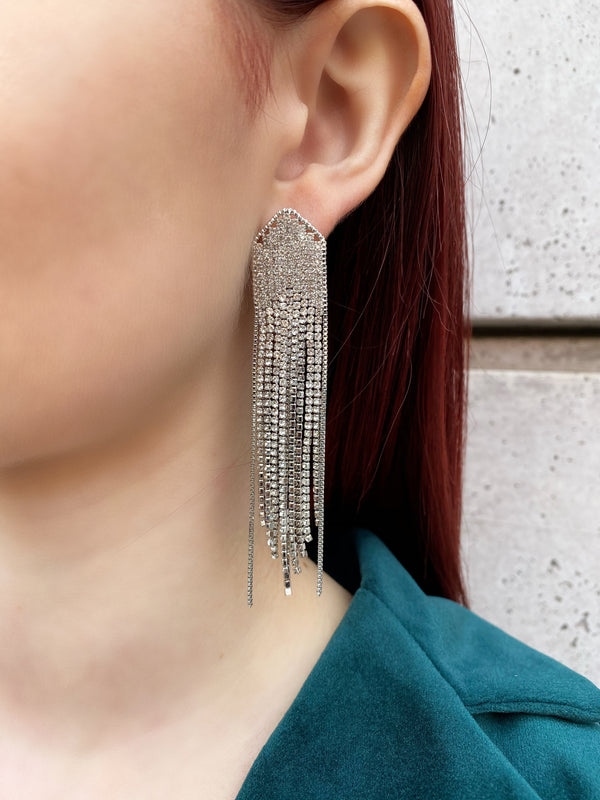 Waterfall Pave Chain Earrrings
