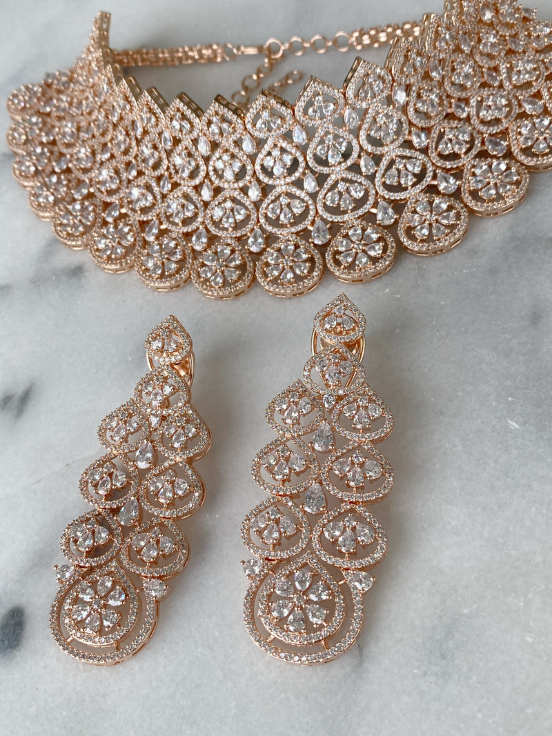 Rose Gold Flowers Stacked Necklace and Earrings and Tikka Headpiece Set