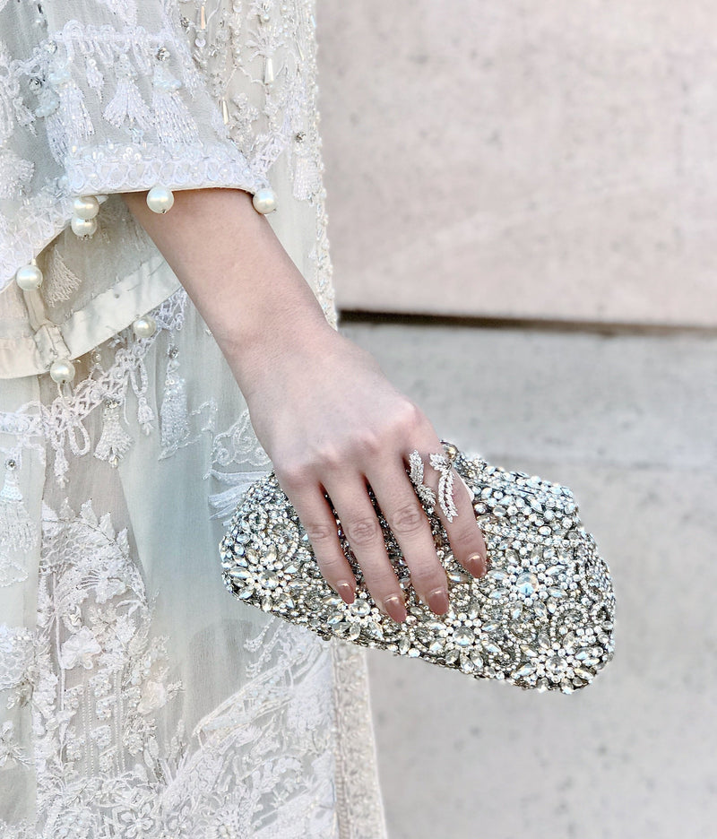 Silver Flower Crystal Clutch