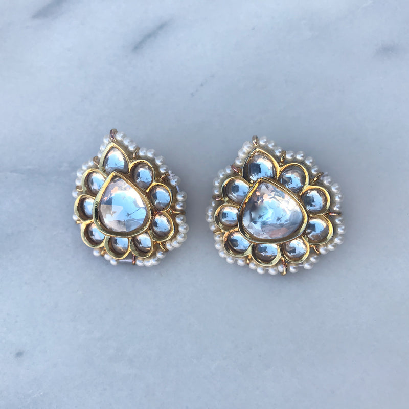 Kundan Champagne Stud Earrings
