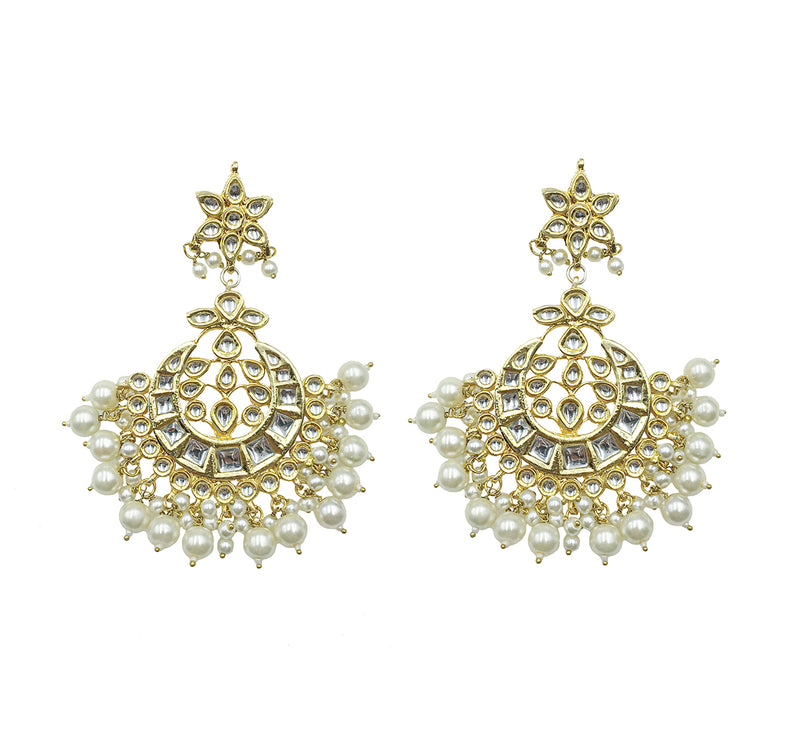 Kundan Flower Pearl Earrings
