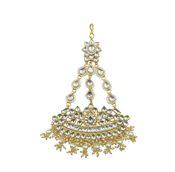 Kundan Pearl Fan Jhoomar Headpiece