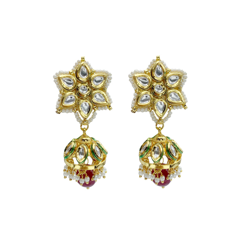 Kundan Ruby Jhumka Flower Earrings