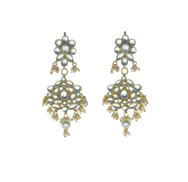 Kundan pearl Crescent Chandbali Earrings