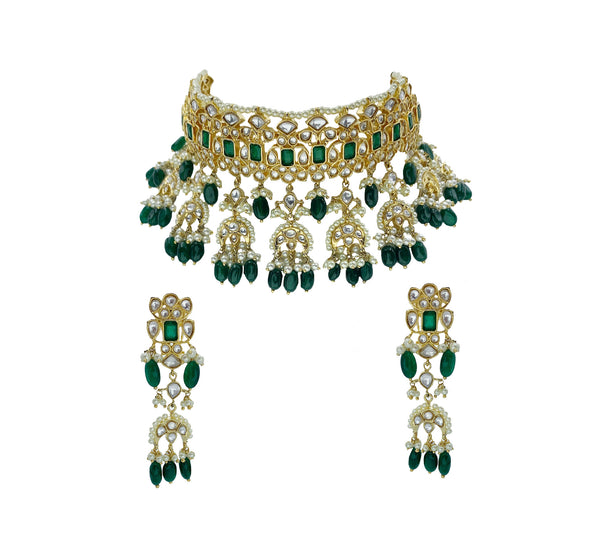 Kundan Emerald Crescents Choker Necklace and Earrings