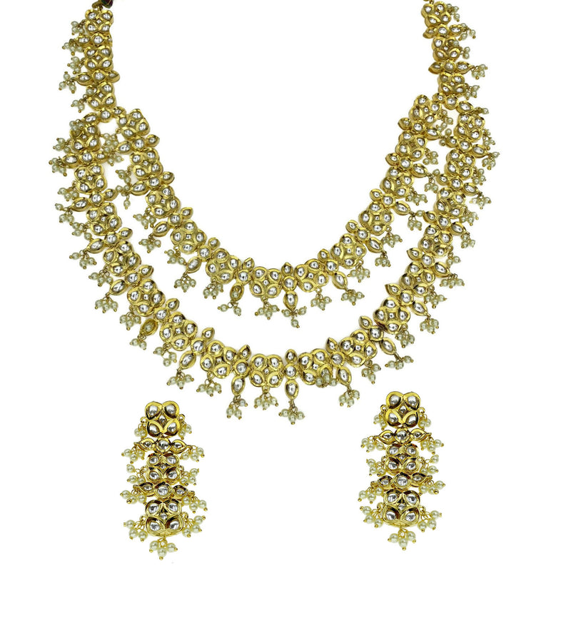 Layered Kundan Flowers and Pearls Necklace and Earrings