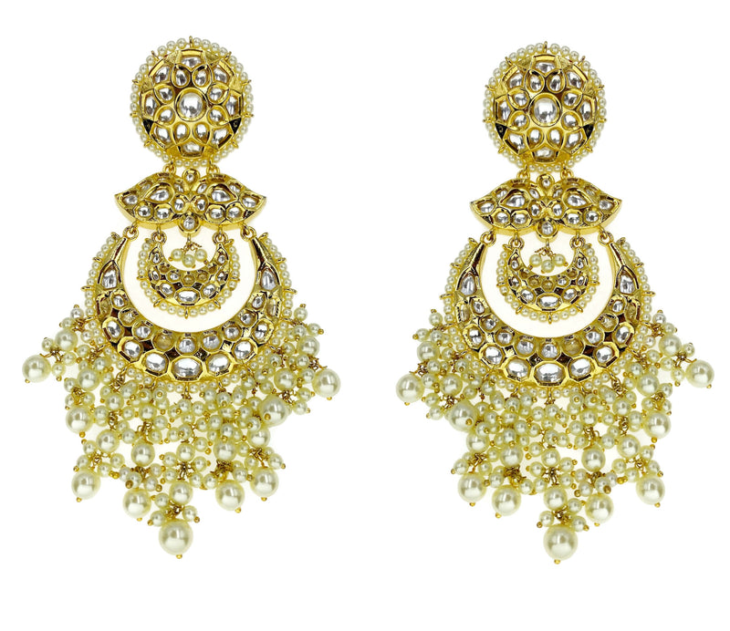 Kundan Statement Crescent Chandbali Earrings