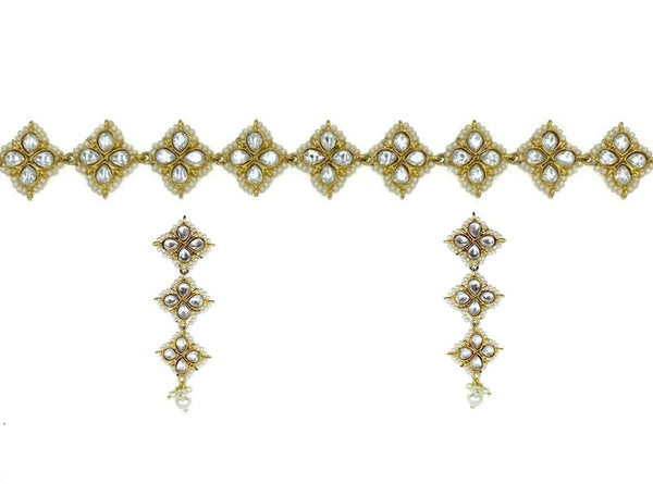 Kundan Pearl Squares Choker Necklace and Earrings