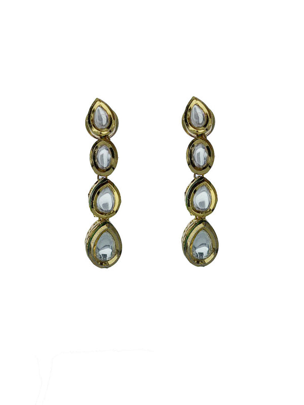 Teardrop Kundan Line Earrings