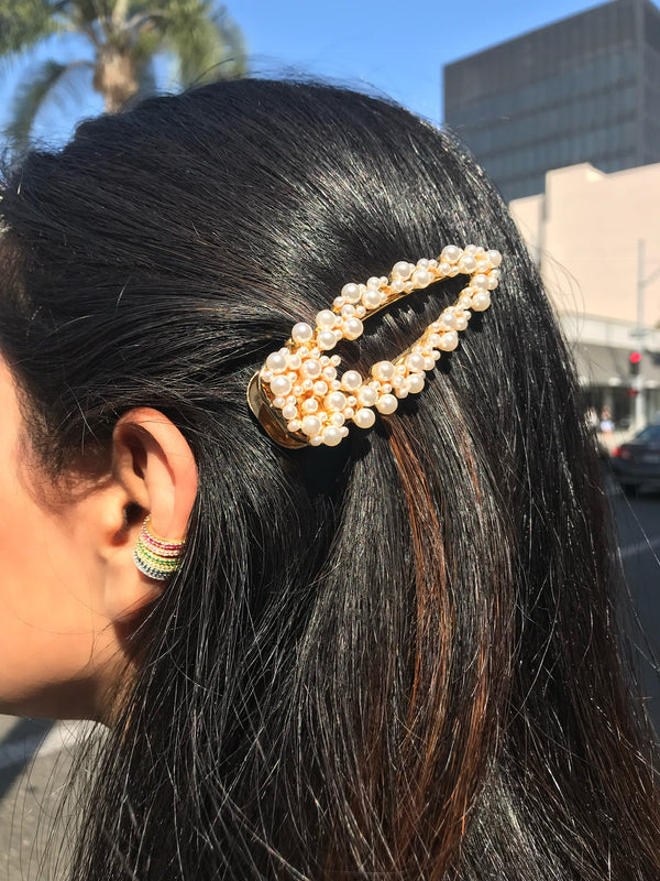 Large Pearl Cluster Triangle Hair Clip
