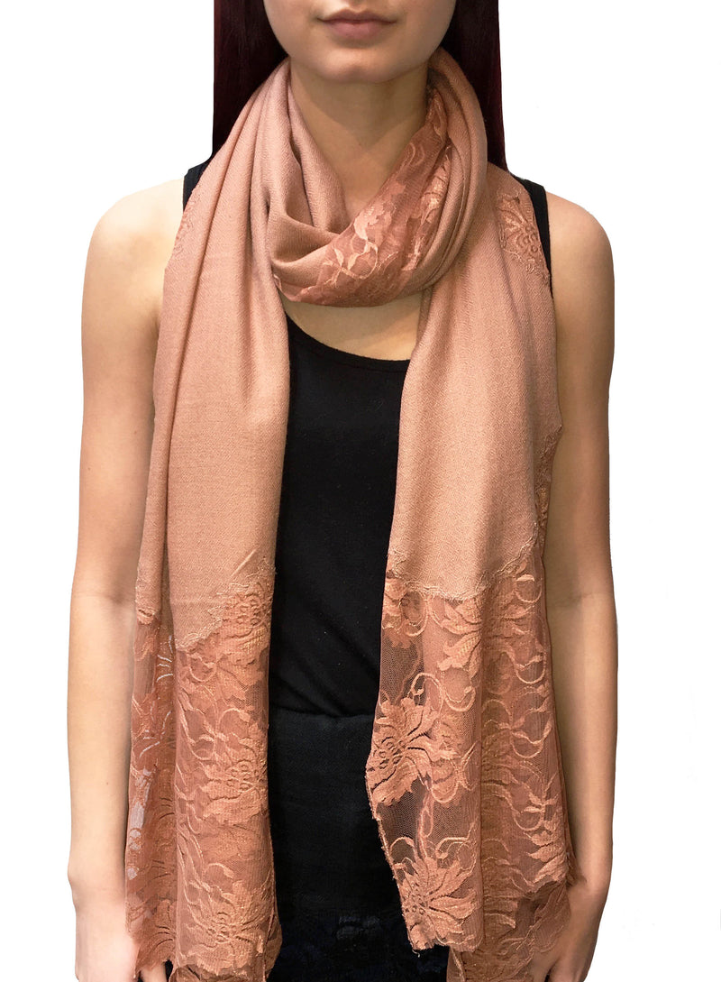 Latte Lace Panel Pashmina Shawl