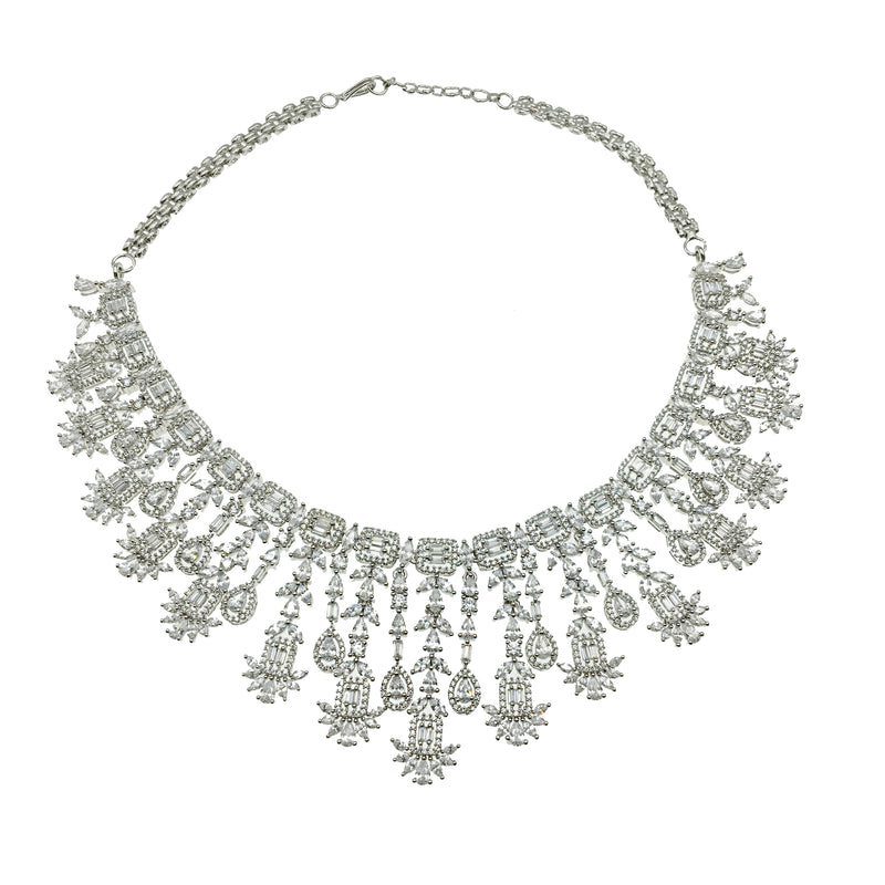 Halo Marquis Waterfall Necklace & Earrings