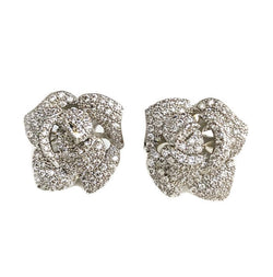 Pave Flower Stud Earrings