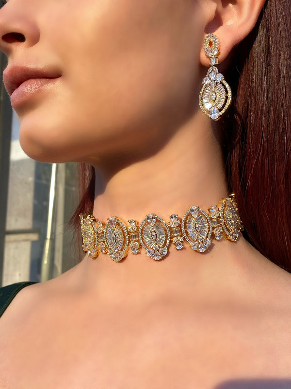 Marquis Baguette Choker Necklace & Earrings