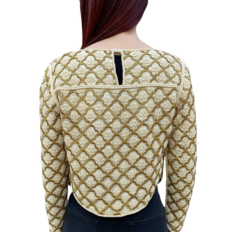 Moroccan Ivory Gold Beaded Jacket
